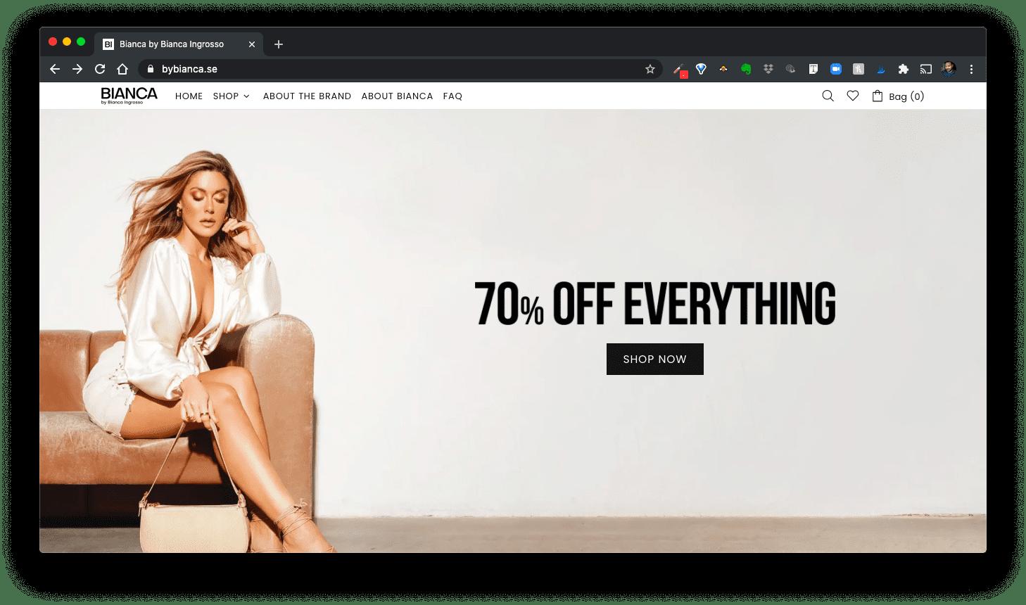 Influencer marketing - Bianca Ingrosso website